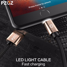 PZOZ LED Light Cable Fast Charger Mobile Phone 8 Pin USB Cable For iphone Xs Max Xr 6 s Plus X 8 7 5 SE 6s iPad charging cord 2m(China)