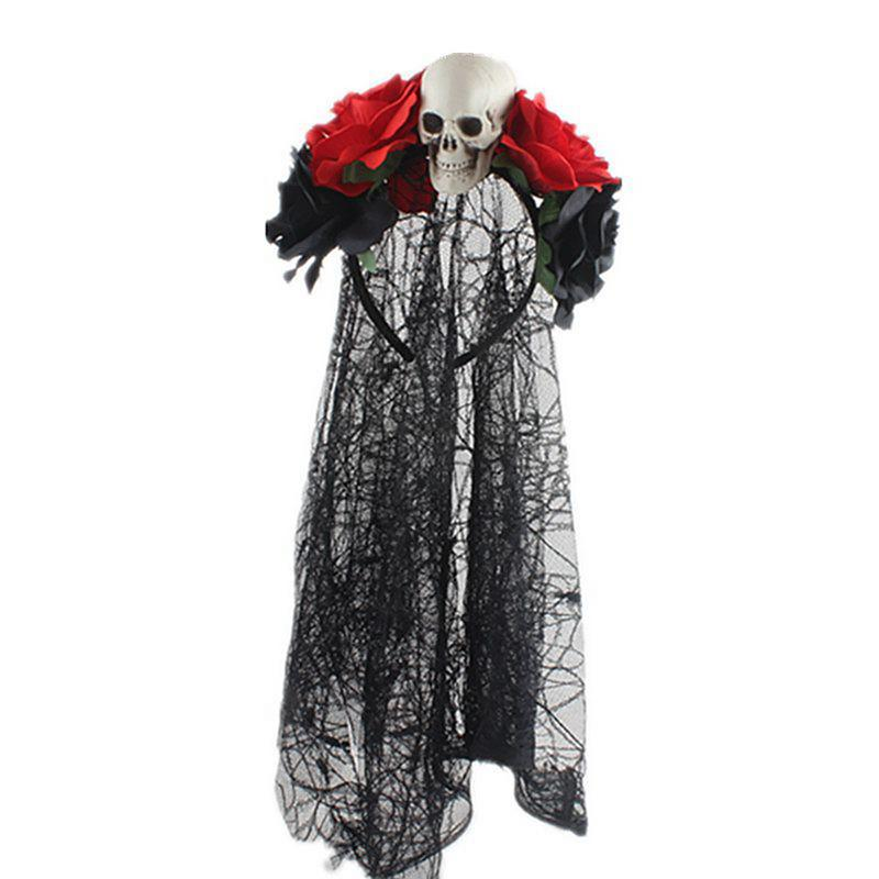 Rose Flower Black Lace Veil Headband Halloween Party Female Costumes Skull Head Tiara Halloween Horror Zombie Bride COS Prop