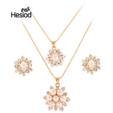 Hesiod Women Wedding Statement Necklace Earrings Bridal African Beads Party Jewellery Imitation Pearl Engagement Accessories(China)