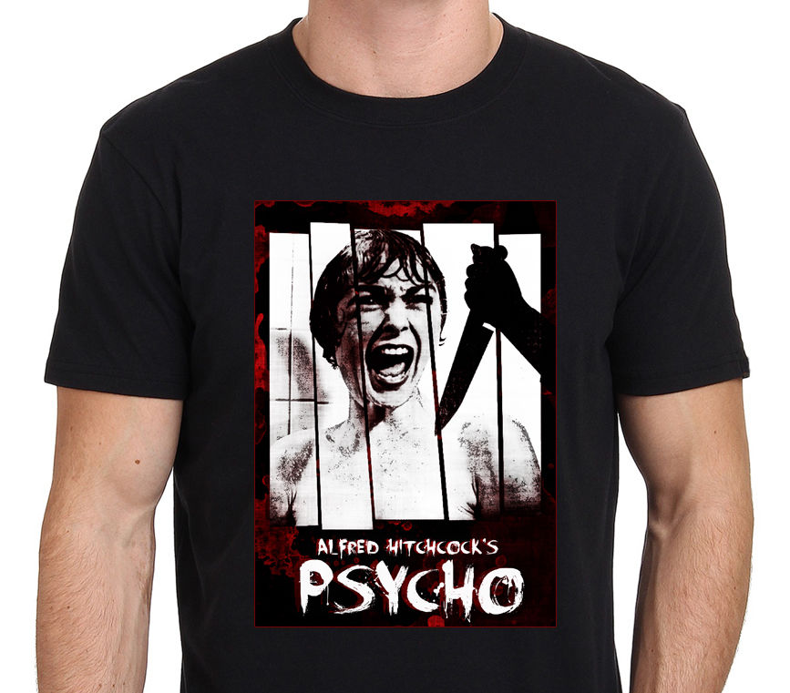 PSYCHO ALFRED HITCHCOCK Classic Horror Movie Art Men's T-Shirt Size S-to-XXL Shirts Summer Short Sleeve Novelty image