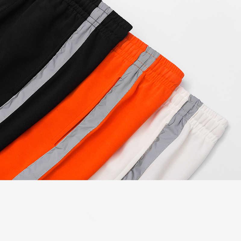 2019 SS yaz çizgili yansıtıcı erkek eşofman altları yüksek sokak turuncu siyah uzun Sweatpants yan kontrast renk rahat Joggers
