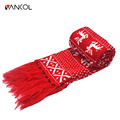 Vancol Christmas Deer Knitted Wool Neck Warmer with Tassel Long Scarves Women Scarf Men Classic Red Black Couple Christmas Scarf