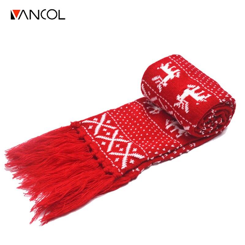 Vancol Christmas Deer Knitted Wool Neck Warmer with Tassel Ls