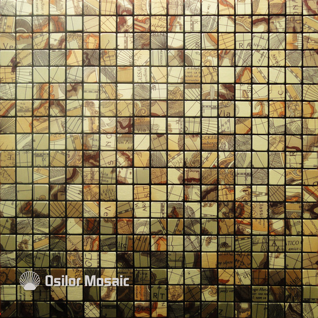 Free Shipping Metal Mosaic Aluminum Plastic Plate Mosaic Tiles For Kitchen  Backsplash Decoration Tiles M012