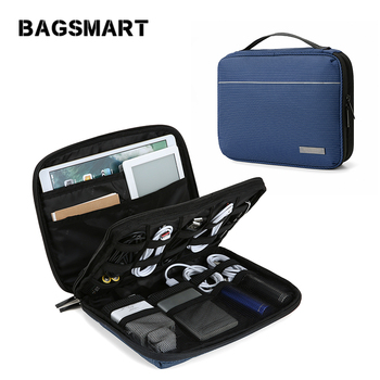 BAGSMART Double Layer Travel Electronics Cases Cable Organizer Travel Electronic Accessories Bags Charger Wire Organizer Bags