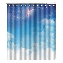 WONZOM Sky Cloud Shower Curtain Waterproof Moon Bathroom Modern Bath With 12 Hooks Accessories