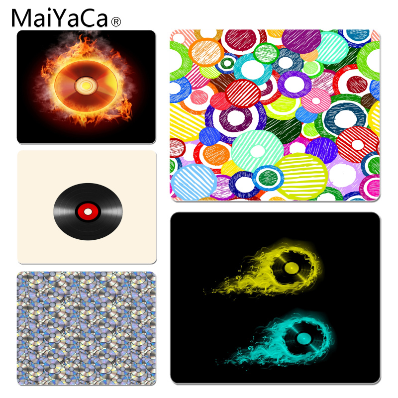 MaiYaCa Optical Disck Funny Retro Vinyl Record Music Unique Desktop Pad Game Mousepad Size for 18x22cm 25x29cm Small Mousepad