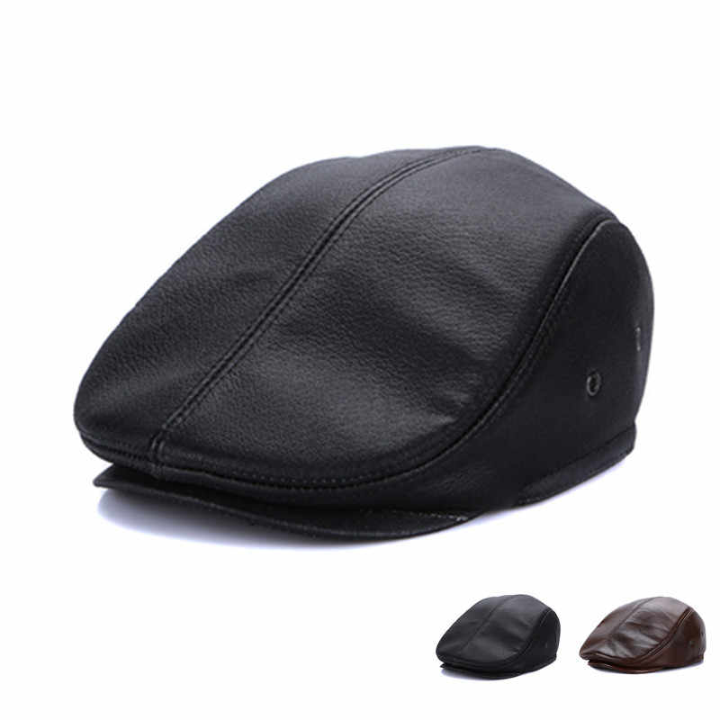 6a636354a9f New Arrival Elderly Leather Hat Male 100% Genuine Leather Cap Men s Winter  Warm Ear Protection