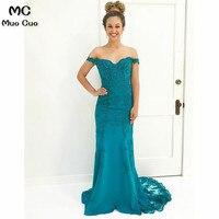2018 Mermaid Off Shoulder Prom dresses Long Short Sleeve Chiffon Vestidos de fiesta dress for graduation Formal Evening Dress