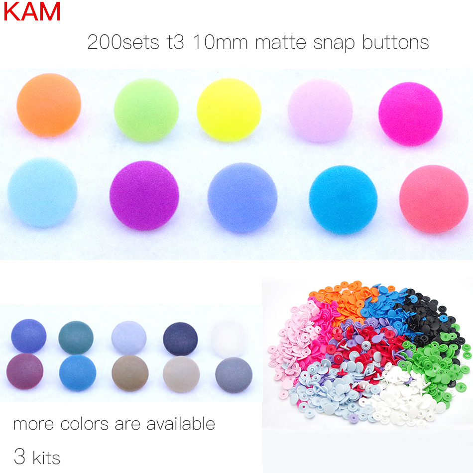 10 Colors Mixed Matte KAM Brand 200 sets 16 10mm T3 Matting Plastic Snap Button KAM Frosted Fastener Buttons n