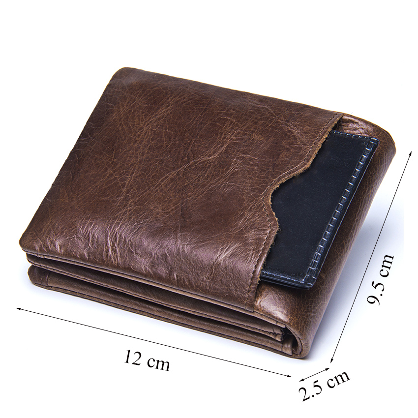 CONTACT'S Genuine Crazy Horse Leather Men Wallets Vintage Trifold Wallet Zip Coin Pocket Purse Cowhide Leather Wallet For Mens 2