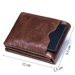 Image 3 - CONTACTS prawdziwa skóra Crazy Horse mężczyźni portfele Vintage potrójnie składany portfel Zip Coin Pocket torebka skóra bydlęca portfel dla mężczyzn