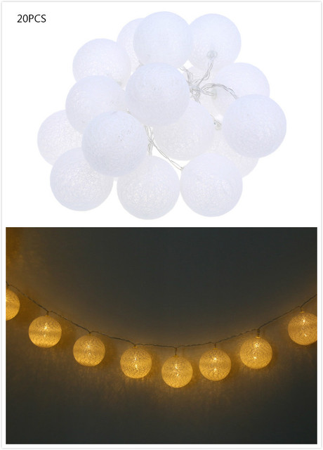 20 unids Bola de Algodón Creativo Luz de Hadas 2 M LED Luces de Cadena de Bolas Luminaria para Patio de la Fiesta de Cumpleaños Decoración Weding luces