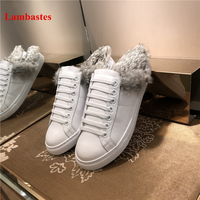 цена на Autumn Shoes Women White Round Toe Rabbit Fur Slip On Women Flats Cross-tied Warm Casual Women Slippers Cozy Mules Shoes Mujer