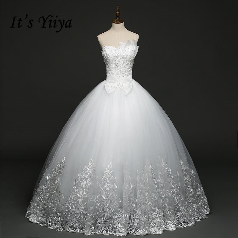It's YiiYa Off White Sleeveless Strapless Sales Wedding Dresses Charming Bow Beading Shining Sequined Pearls Wedding Frock HS274