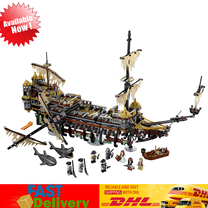 The Slient Mary Pirate Ship Set Building Blocks Bricks Model Kids Toys Building Compatible LegoINGlys 71042 red pirate ship blocks compatible legoingly war pirate king character action diy bricks cannon building blocks toys for children