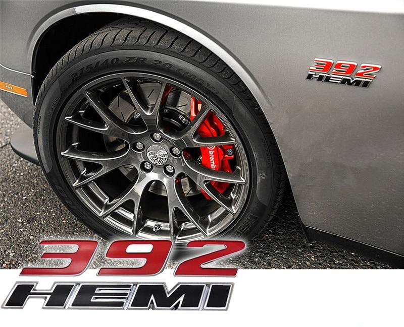 2x OEM Red 345 HEMI Emblems 345Hemi Badge 3D for Dodge Challenger L RAM Red
