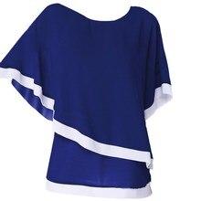 Large Size Chiffon Patchwork Irregular Blouse Casual Batwing O Neck 2019 Summer Women Shirts Sleeve Plus Clothing