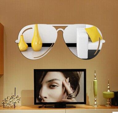 2015 óculos de Sol Criativas ícone etiqueta do espelho Acrílico espelho de  Cristal adesivos de parede para quarto de crianças adesivos de parede  decoração ... af462f0b86
