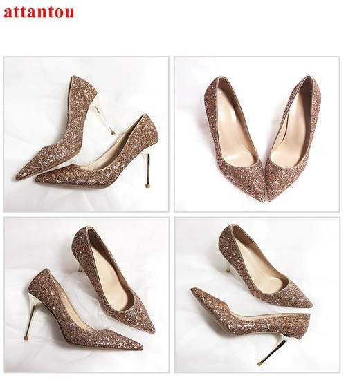 e792295ba2a4 Online Shop Female wedding dress shoes Rose Gold woman high heels fashion  shoes heelpiece bling bling paillette thin heel pointed toe pumps