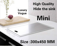 Free shipping Apartment high quality kitchen manual sink single trough hide 304 stainless steel hot sell small 300x450 MM