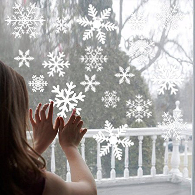 38 Pieces Snowflake Electrostatic Sticker Window Decoration for Kids Room Christmas Wall Stickers Home Decals New Year Wallpaper