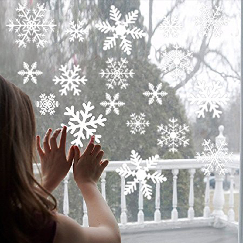 38 pcs/lot snowflake electrostatic Sticker Glass window kids room winter home decoration Christmas Wall Stickers Decal wallpaper(China)