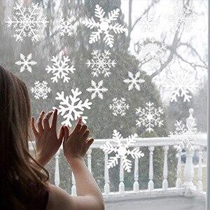 Image 1 - 38 יח\חבילה פתית שלג אלקטרוסטטי מדבקת חלון ילדים חדר חג המולד קיר מדבקות בית מדבקות קישוט חדש שנה טפט