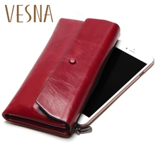 2017New Women Phone Bag New Soft Oil Wax Genuine Leather Wallet Long Designer Male Clutch Luxury Brand Wallets Zipper Coin Purse