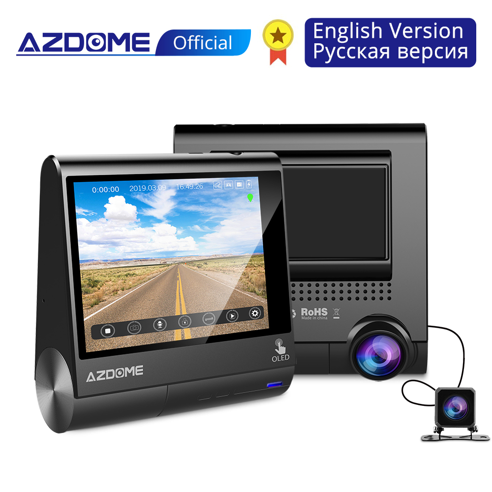 AZDOME M05 World First 3 OLED Touch Screen Car DVRs Recorder Dash Cam With GPS Vehicle