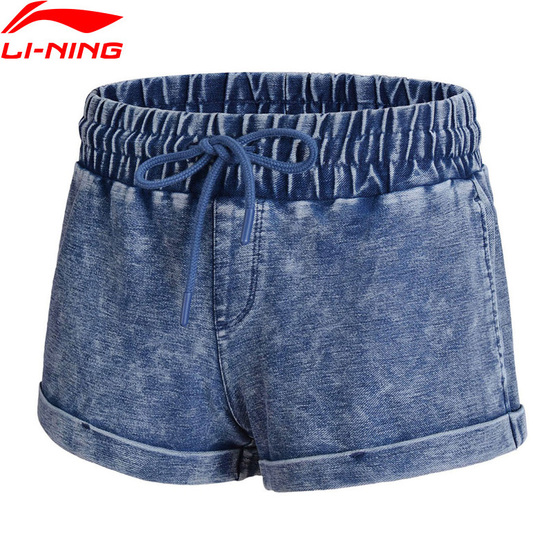 (Break Code)Li-Ning Women Denim Shorts Fitness Loose Fit 56% Cotton 38% Polyester LiNing Li Ning Sport Shorts AKLN118 WKD578
