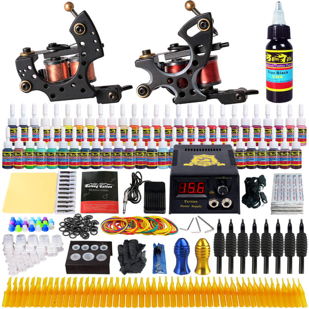 Complete Tattoo Kit Professional Tattoo Machine Kit Rotary tattoo Machine Guns 54 Inks Power Supply Grips Foot Petal Set TK211 europe god of darkness robert recommend gp self lock grips gp3 professional tattoo artist grip