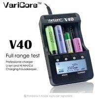Novo V40 VariCore LCD Carregador 3.7 V 18650 26650 18500 16340 14500 18350 bateria de lítio 1.2 V AA/AAA as baterias NiMH