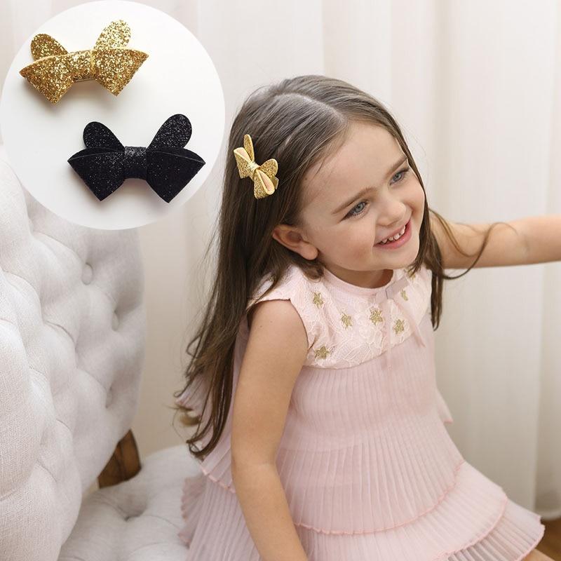 2pcs New Glitter Ear Bow Hair Clip Lovely Gold Black Cartoon Hair Barrettes Fashion Hairpin Headwear for Girls hair accessories