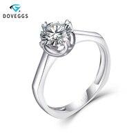 DovEggs Classic 14K White Gold Engagement Ring for Women Wedding Gift Center 1ct 6.5mm F Color Moissanite Diamond Ring Women
