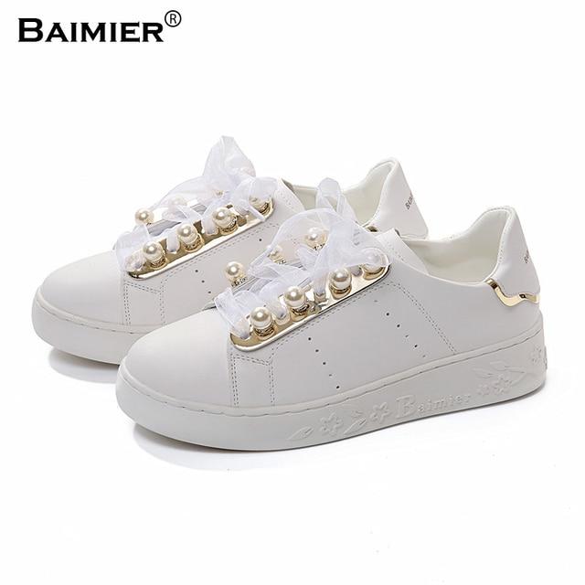 Zapatos blancos de primavera de punta redonda casual para mujer 2pkN1l