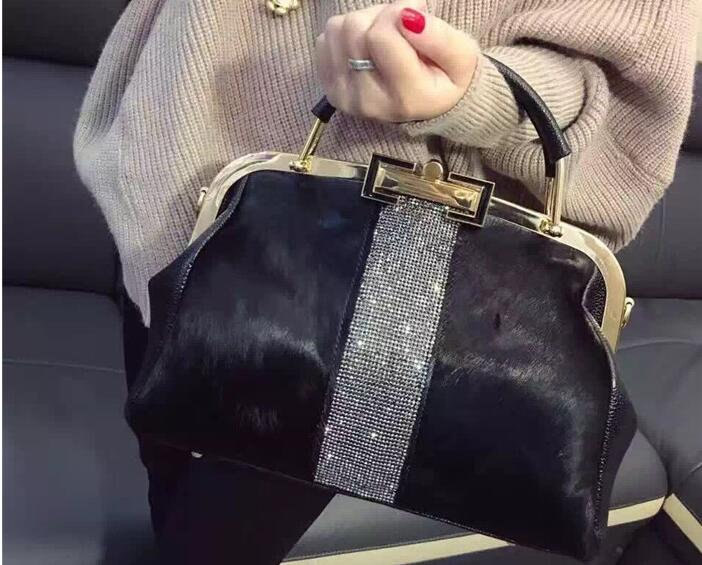 2019 Autunno e di Inverno del cuoio genuino reale delle donne di crine borsa a tracolla una borsa cross body bag