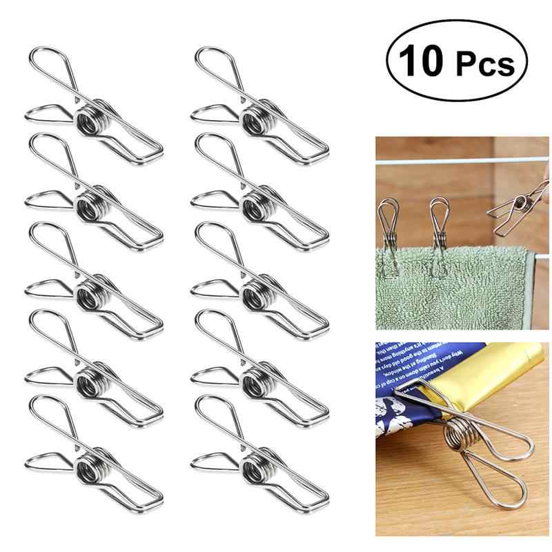 10pcs Stainless Steel Clothes Pegs Metal Clips Socks Clips Clothes Pins Multifunctional Clothing Blanket Clamps