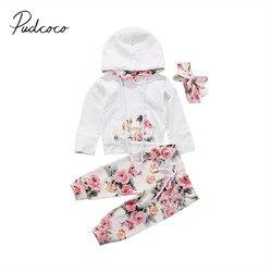 2017 Новый брендовый Цветочный наряд для новорожденных девочек, спортивный костюм топ с капюшоном + леггинсы, штаны повязка на голову, комплек...