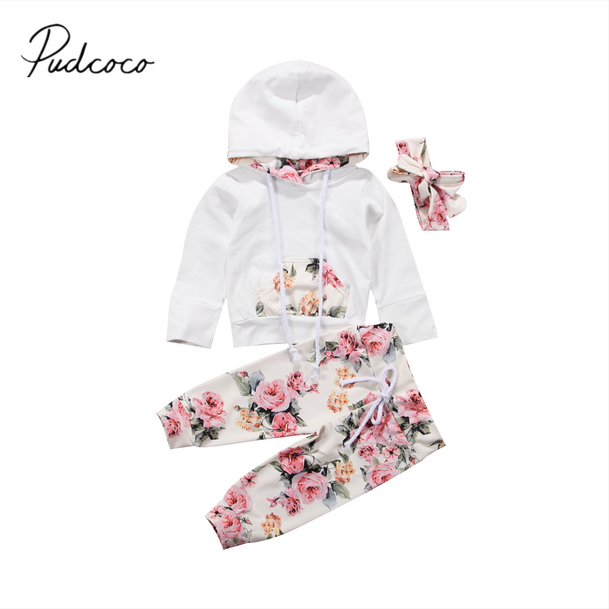 2017 Brand New Infant Toddler Newborn Baby Girls Floral Outfit Clothes Tracksuit Hooded Tops+Leggings Pants Headband 3Pcs Set fashion 2pcs set newborn baby girls jumpsuit toddler girls flower pattern outfit clothes romper bodysuit pants