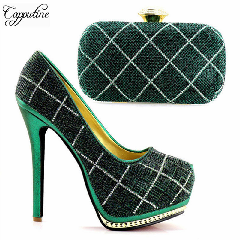Capputine High Quality Fashion Ladies Party Pumps Shoes With Evening Bag Rhinestone Women Wedding Shoes And Bag Set Italy Shoes
