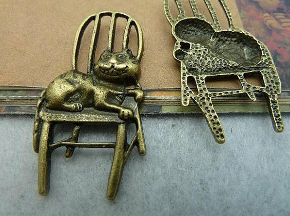 Jewelry & Accessories 100pcs 22x41mm Antique Bronze Lovely Filigree Lazy Cat On The Chair Charms Pendant Ideal Gift For All Occasions