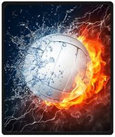 Memory Home Custom White Volleyball Between Fire And Water Design Blanket Fleece Blanket Soft Travel Blanket