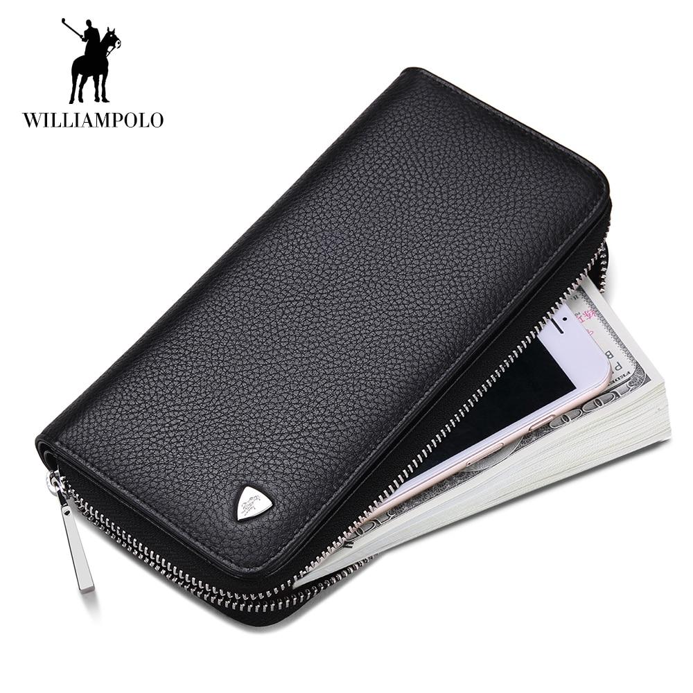 WilliamPOLO Brand Men Wallets Long Men Clutch bag Genuine Leather Travel Wallet Zipper Phone Purse Card Holder Wallet Pocket 132