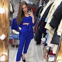 TAOVK Women Suits Female Pant Suits Office Lady Formal Business Set Uniform Work Wear Blazers Camis Tops and Pant 3 Pieces Set