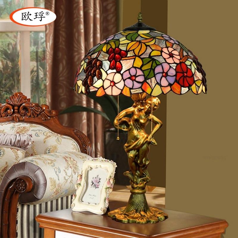 Tiffany colorful glass grape table lamp living room dining room bedroom bedside table lamp American Pastoral  lamp|bedside table lamps|table lamp|table lamps living room - title=
