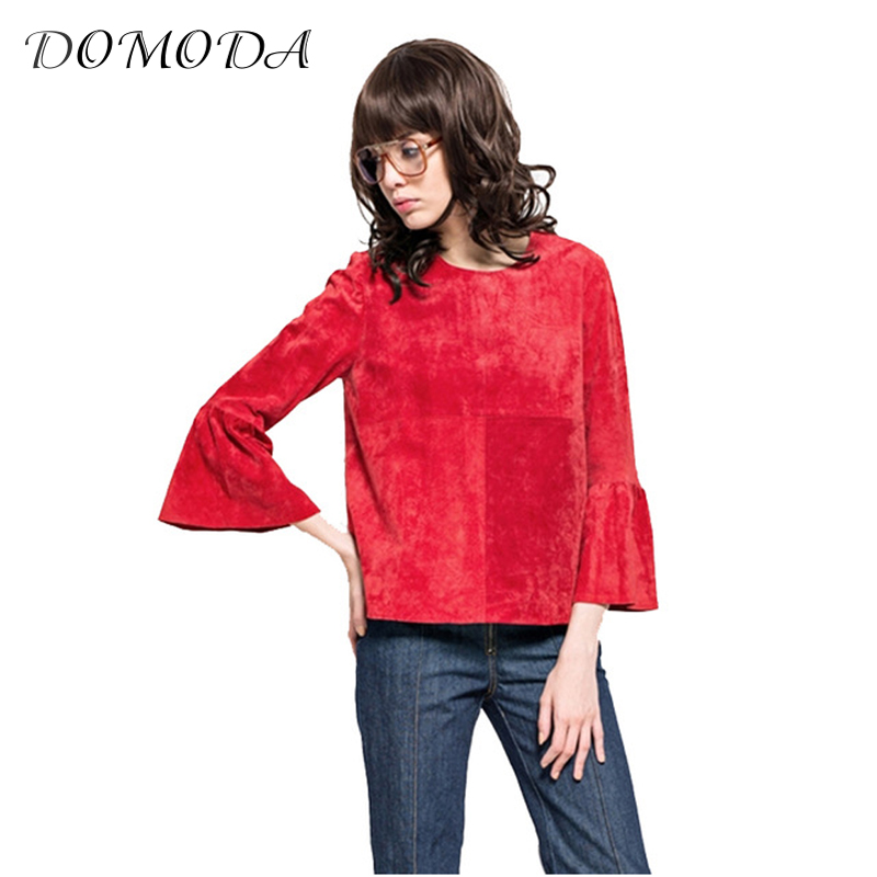 DOMODA Solid Red Sweet Chic Women Top Tees Blue Casual Contrast Flare Sleeve Female T-shirt Autumn Drap Basic Pullover Tops