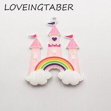 Newest Design 50mm*42mm 10pcs /lot Silvery Princess Castle with Rainbow Enamel Pendant