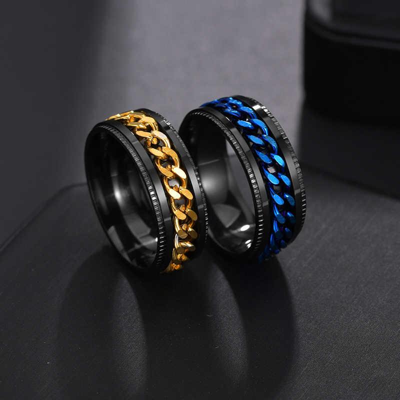 Letdiffery פאנק 8mm ספינר שרשרת גברים Rotatable טבעת שחור כחול נירוסטה Rotatable מגניב מתנת מסיבת תכשיטי אנל ברית