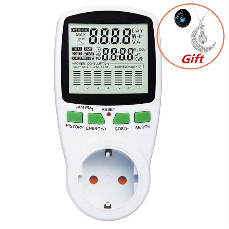 EU Digital LCD Energy Meter Wattmeter Leistung Strom Kwh Power Meter Mess Messung Outlet Power Analyzer